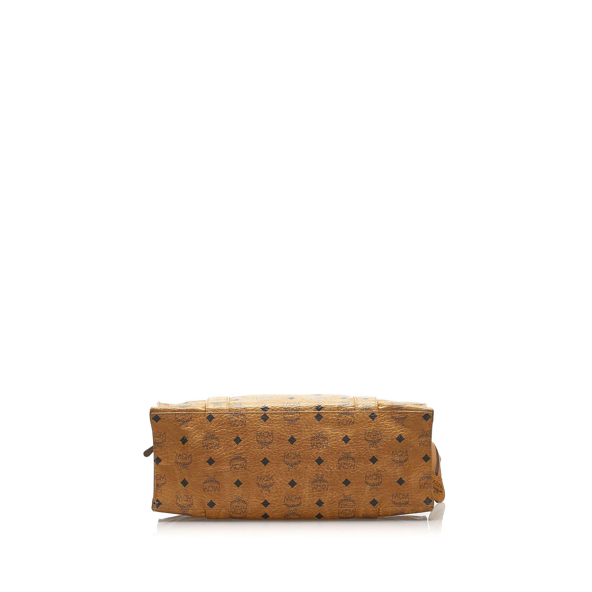 Vintage MCM Visetos Leather Tote Bag Brown
