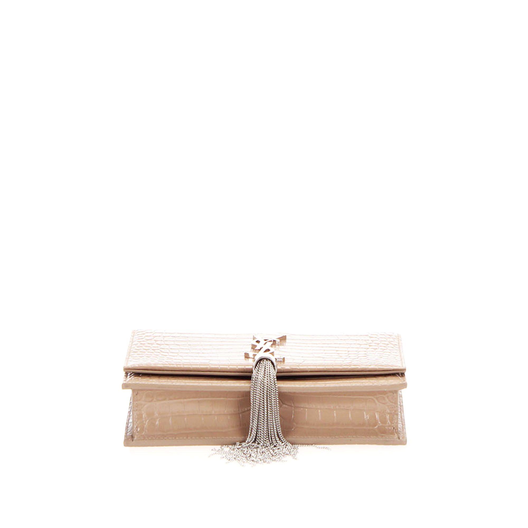 Vintage YSL Embossed Kate Leather Crossbody Bag Brown