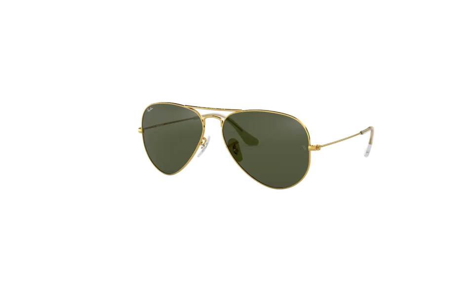 Rayban Aviator sunglasses with gold frame with green lens