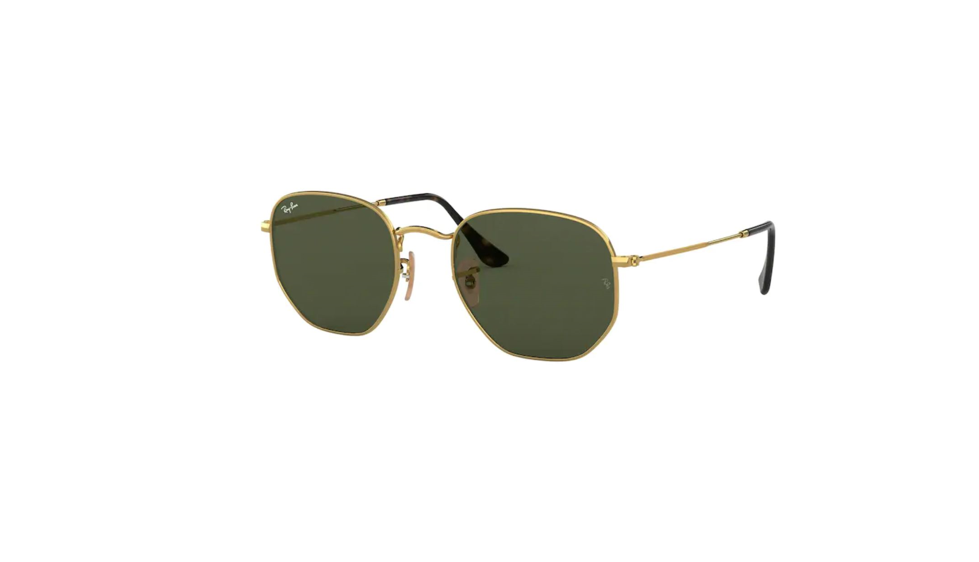 Rayban hexagonal sunglasses with gold frame and green lens