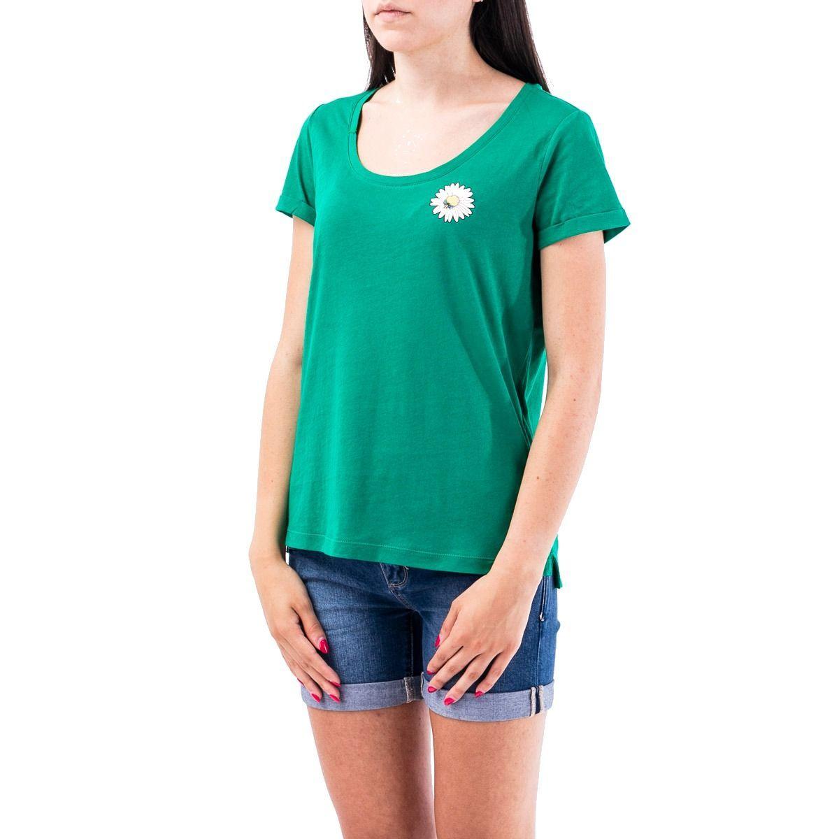 SUN 68 WOMEN'S T3021627 GREEN COTTON T-SHIRT