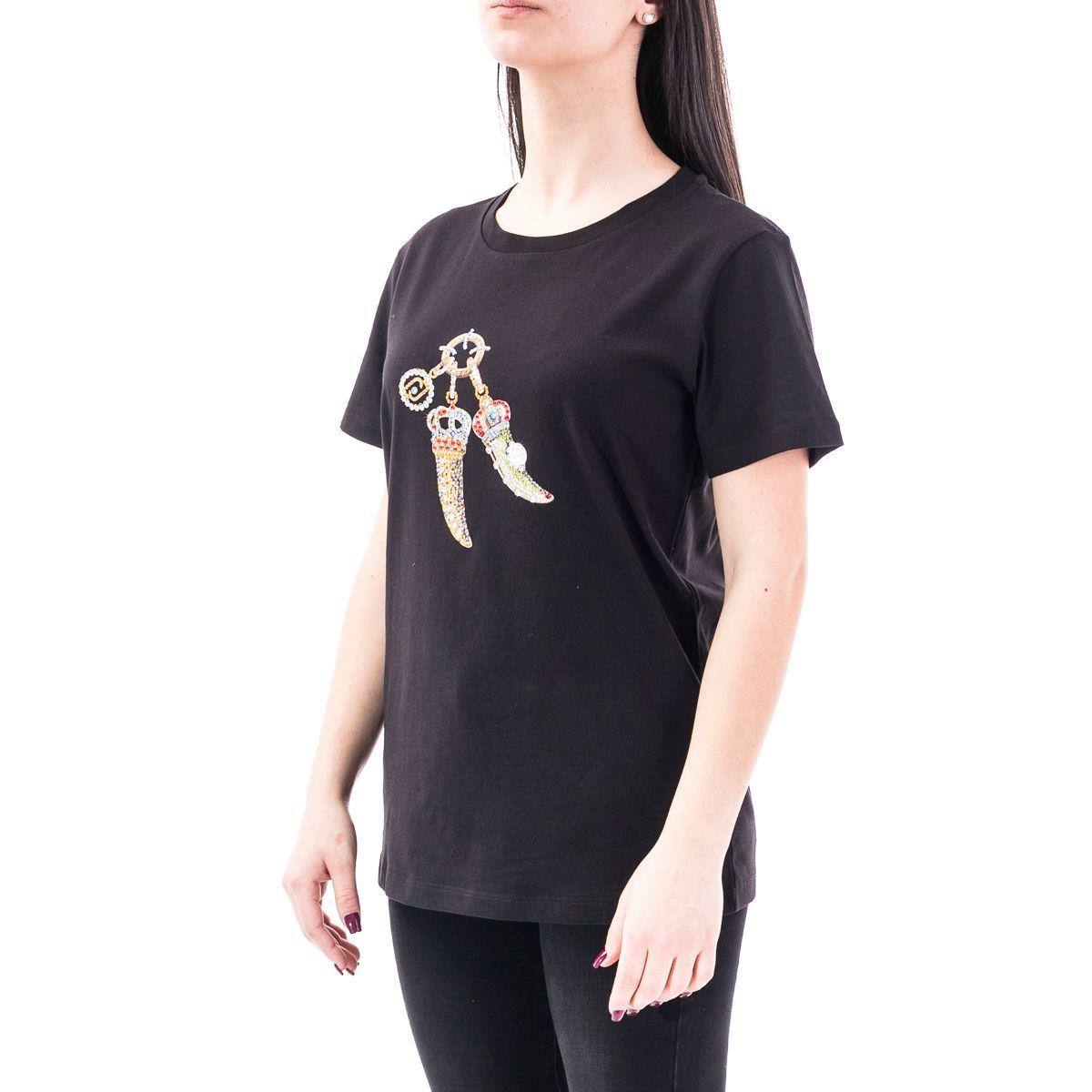 LIU JO WOMEN'S CA0199J5884T9047 BLACK COTTON T-SHIRT