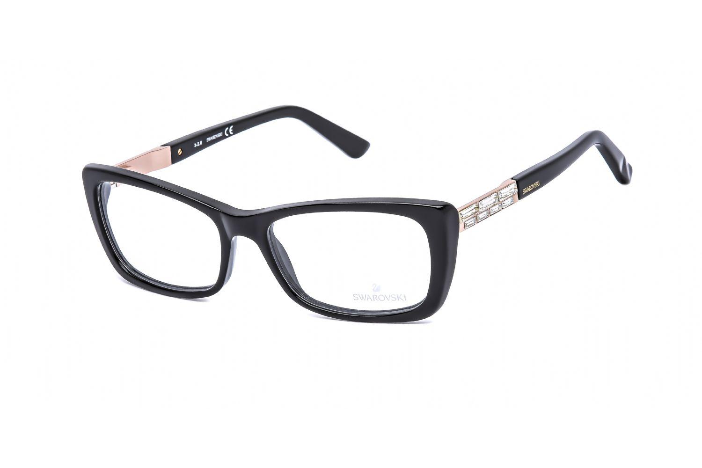 SWAROVSKI Rectangular acetate Women Eyeglasses Shiny Black / Clear Lens