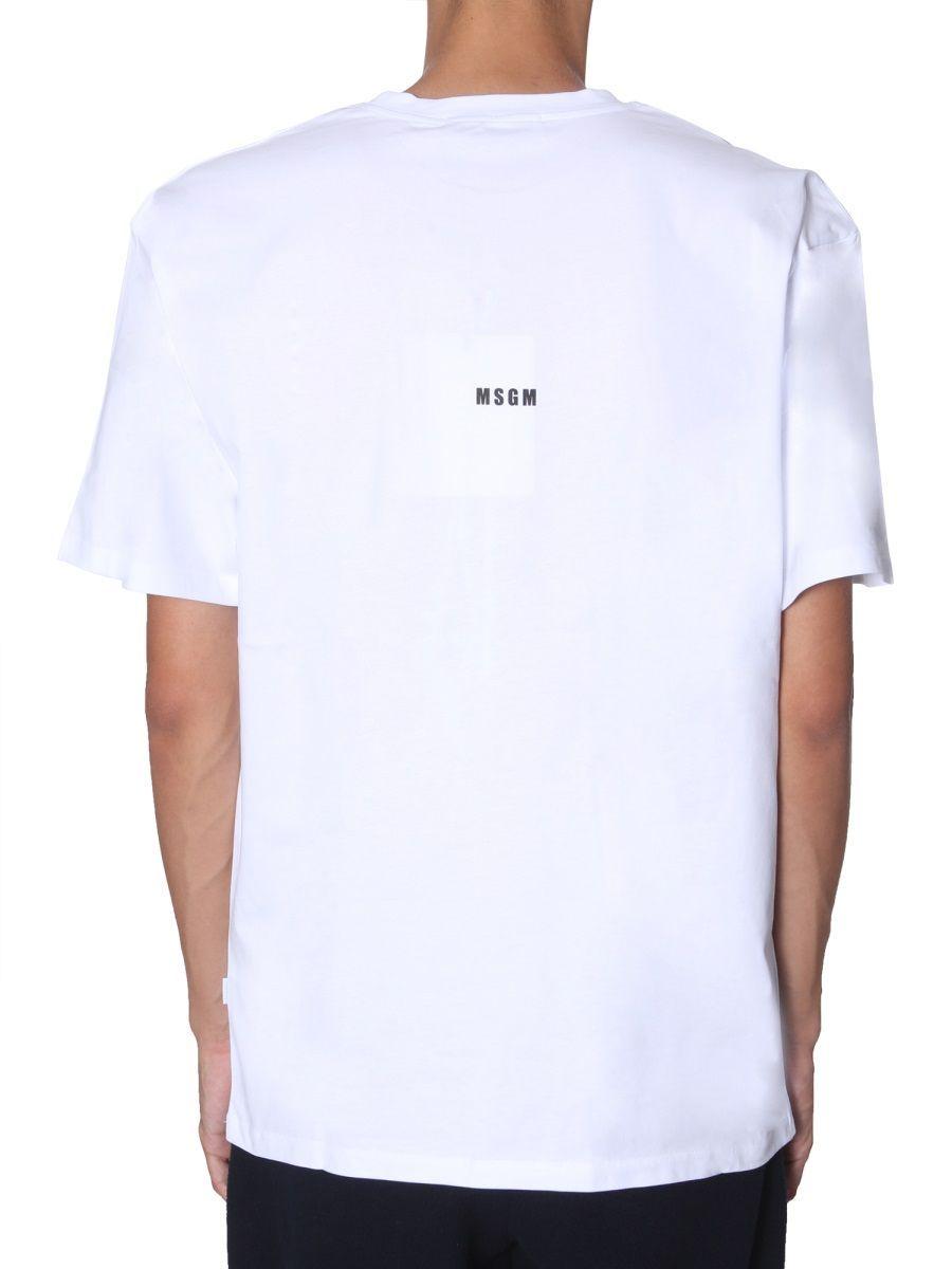 MSGM MEN'S 2740MM9519579701 WHITE COTTON T-SHIRT