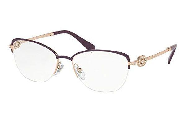 Bvlgari Cat eye metal Women Eyeglasses Plum / Pink / Gold / Clear Lens