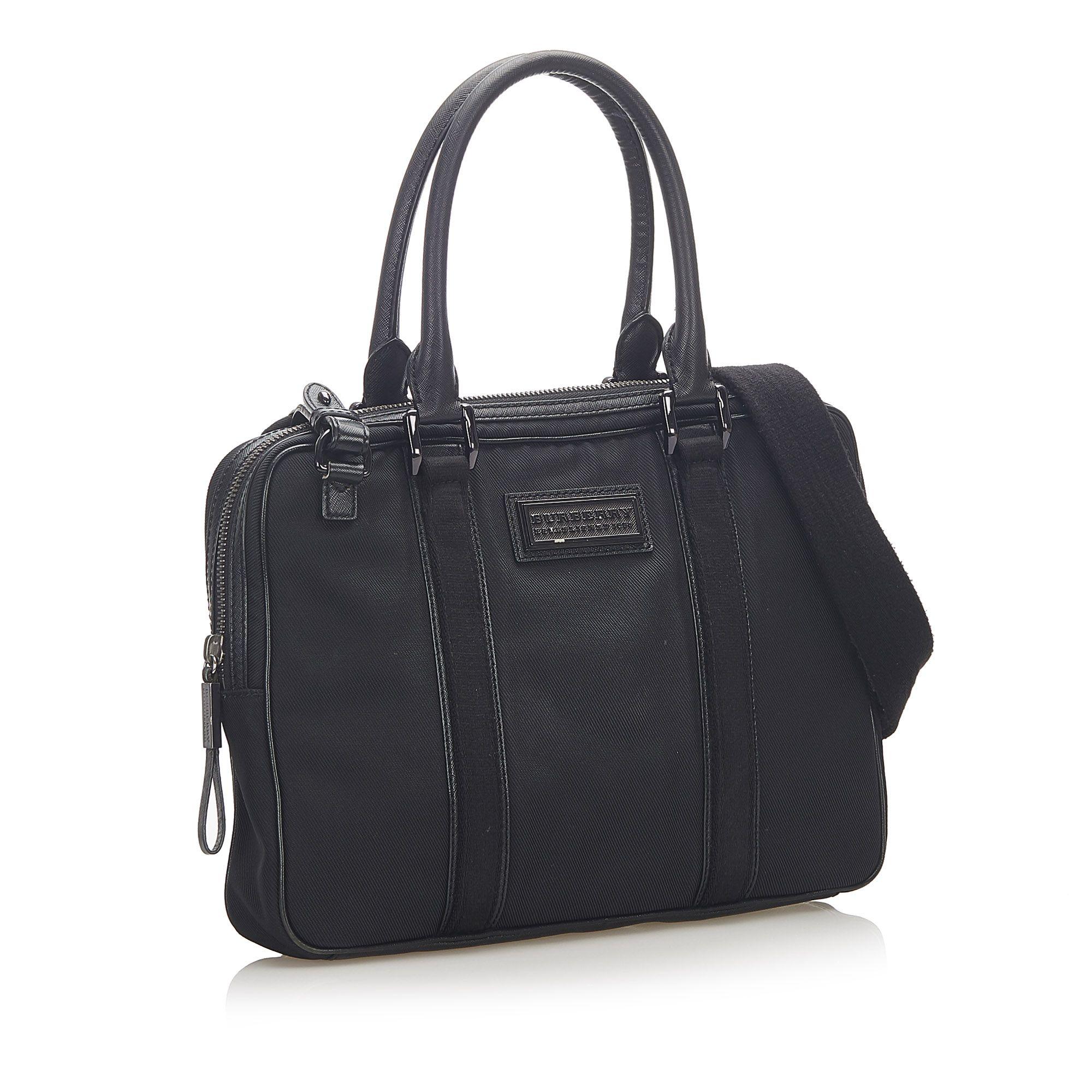Vintage Burberry Leather Business Bag Black