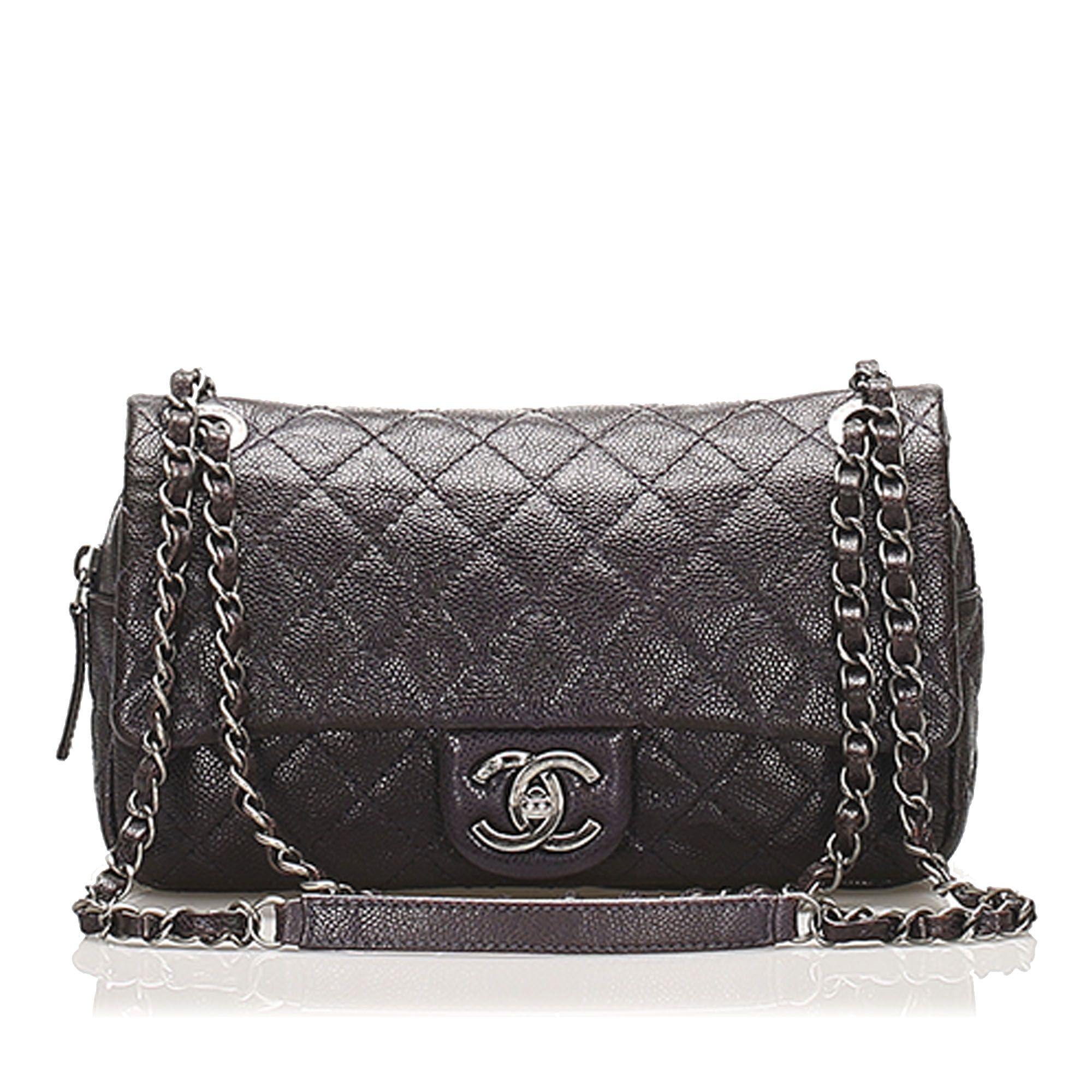 Vintage Chanel Small Classic Caviar Leather Double Flap Bag Black