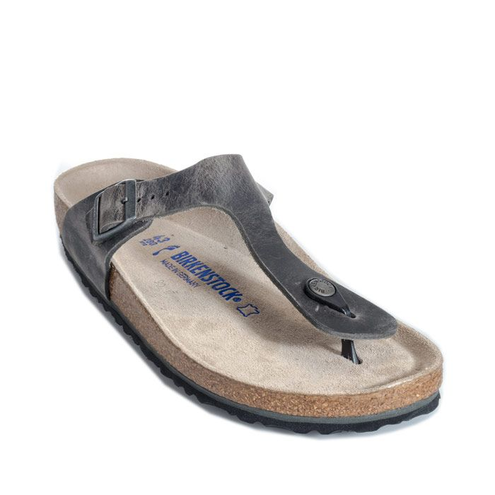 Men's Birkenstock Gizeh Soft Footbed Sandals Narrow Width in Grey