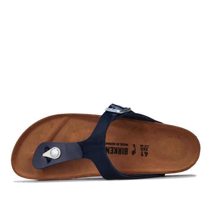 Women's Birkenstock Gizeh Patent Sandals Narrow Width in Dark Blue