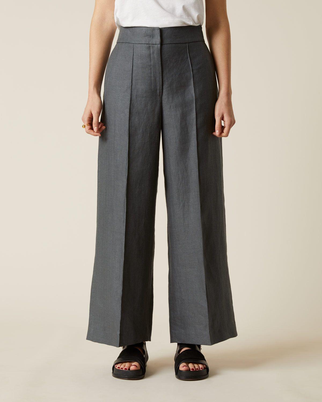Linen Hb Wide Crop Trouser