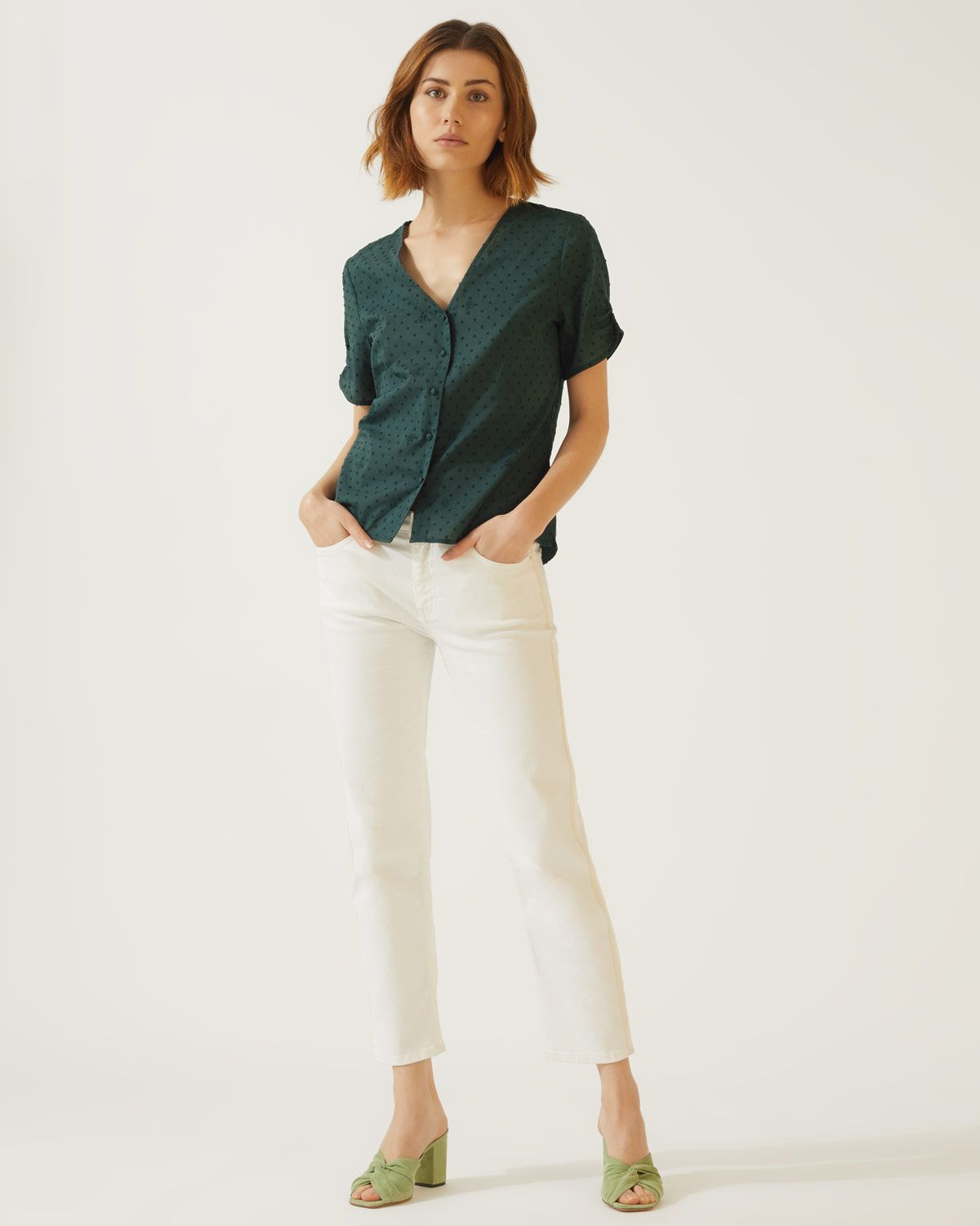 Cotton Broderie Button Top