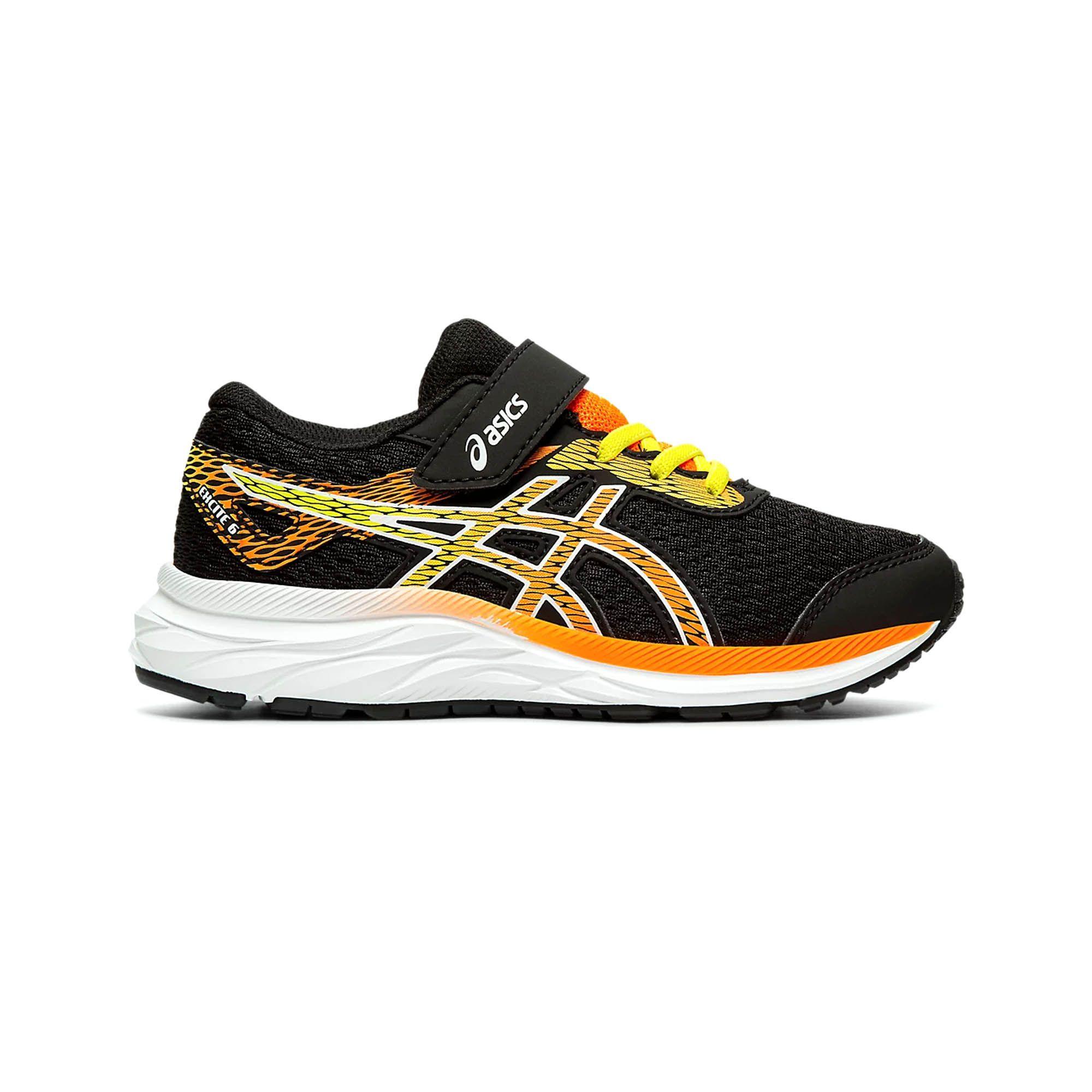 Asics Excite 6 Junior Running Trainer Black/Yellow/Orange