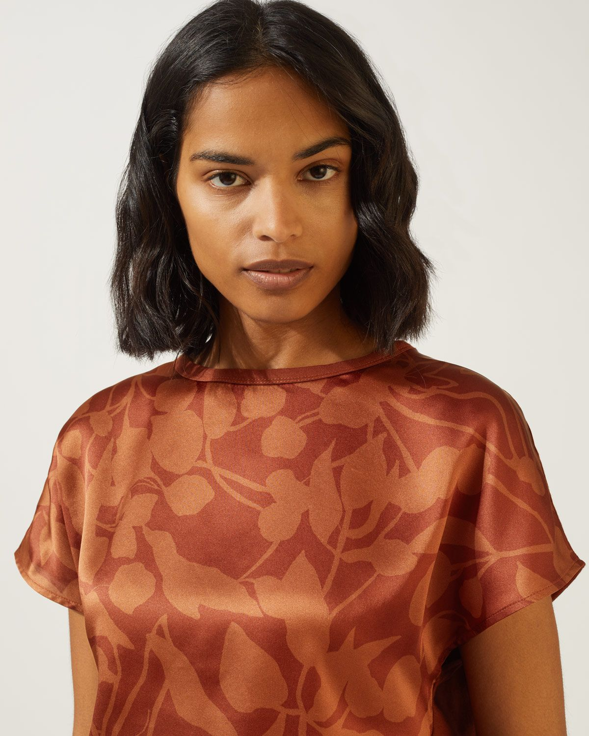 Woodland Floral Ss Silk Front