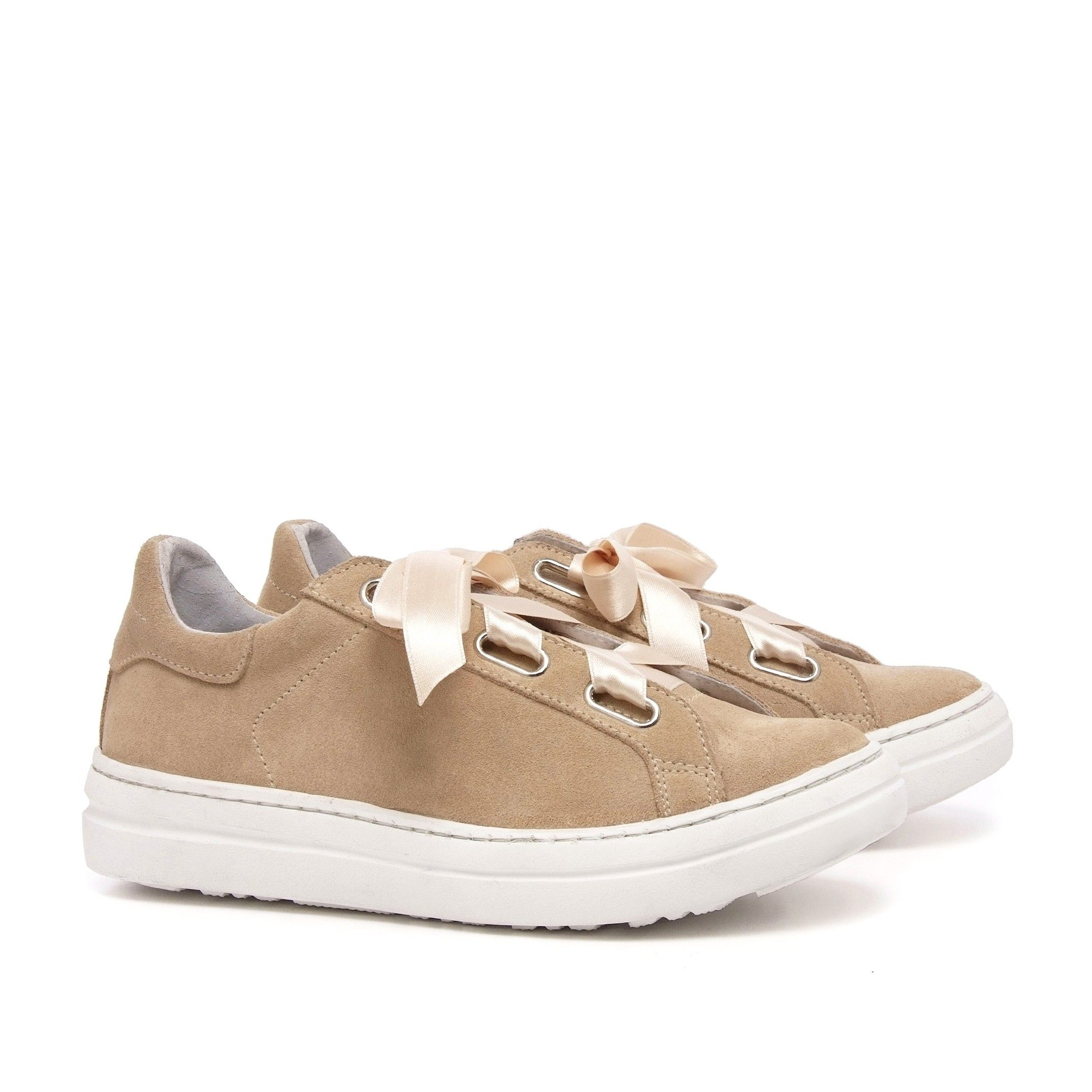 Camel Suede Leather Sneakers Women Maria Barcelo