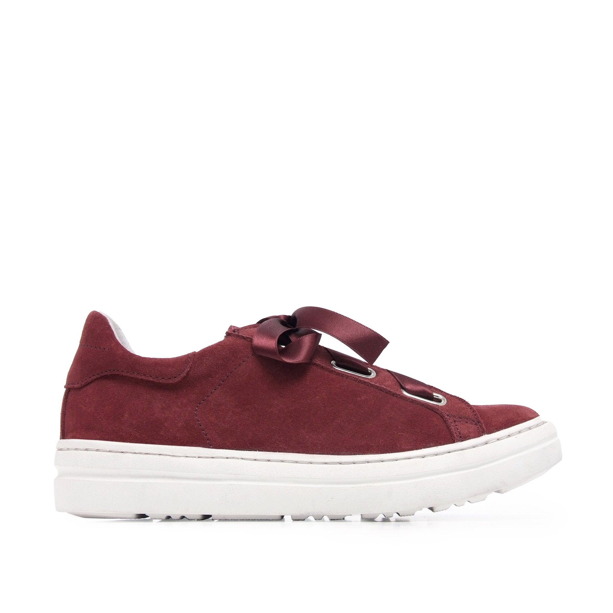 María Barceló Womens Leather Sneakers in Garnet
