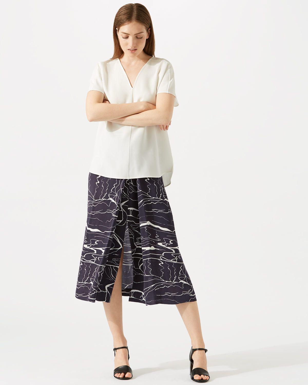 Waterpool Pleat Front Midi Skirt