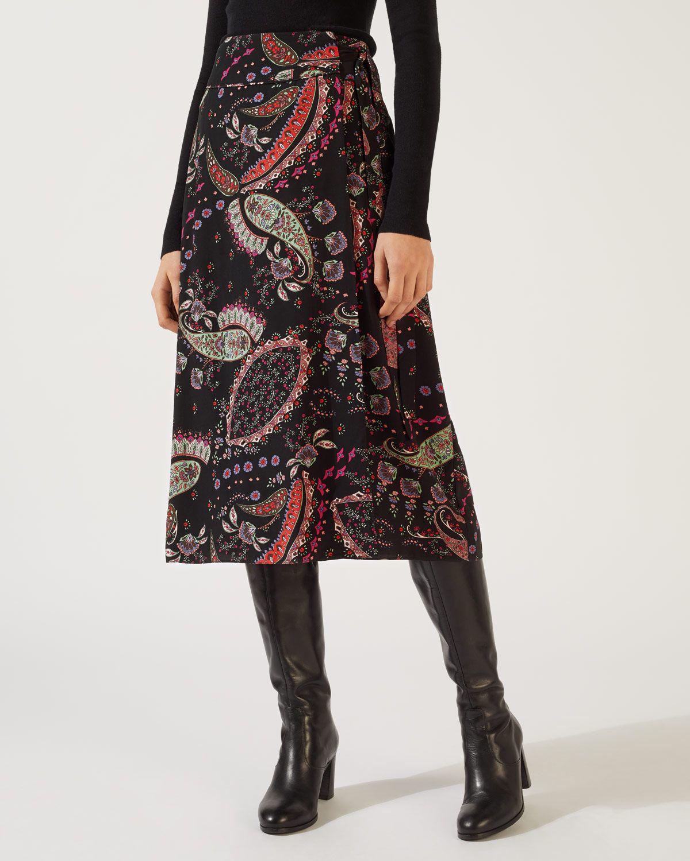 Paisley Wrap Midi Skirt