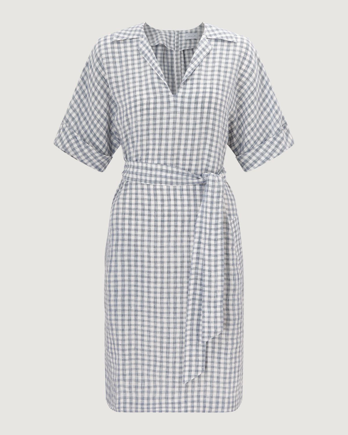 Gingham Linen Belted Dress