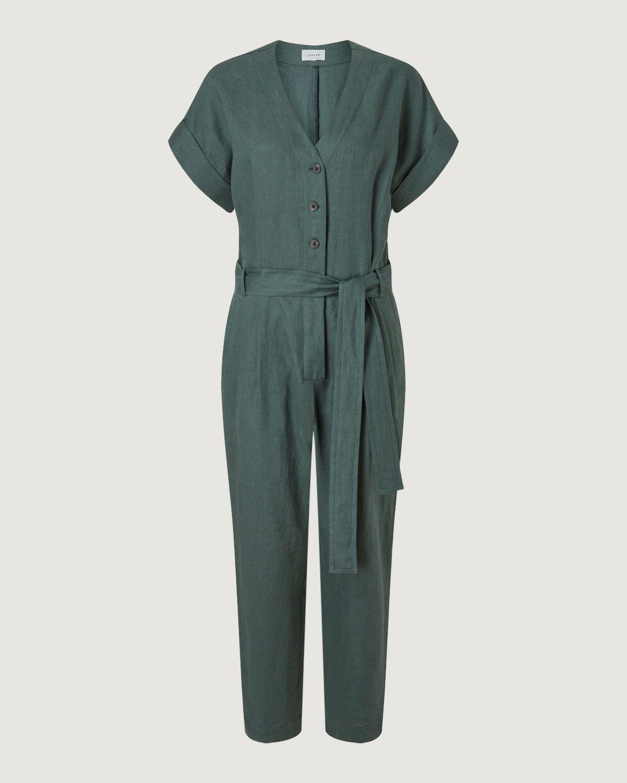 V Neck Belted Linen Jumpsuit