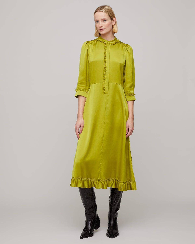 Silk Satin Ruffle Shirt Dress