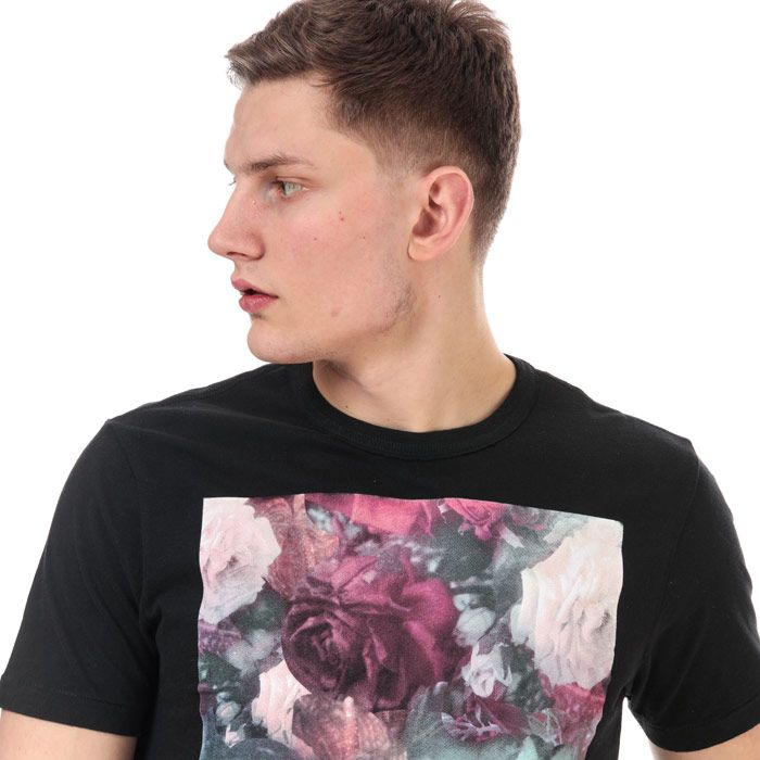 Men's True Religion Floral Text T-Shirt in Black
