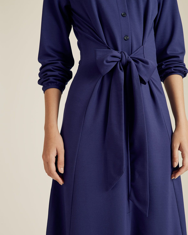 Tie Front Jersey Shirt Dress