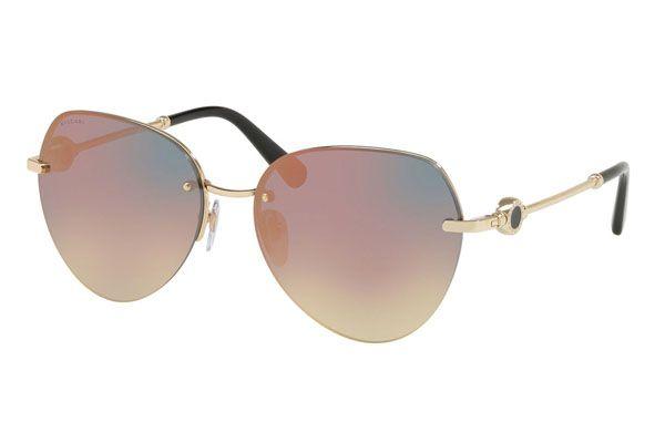 Bvlgari Round metal Unisex Sunglasses Pink Gold / Grey / Mirrored Rose Gold