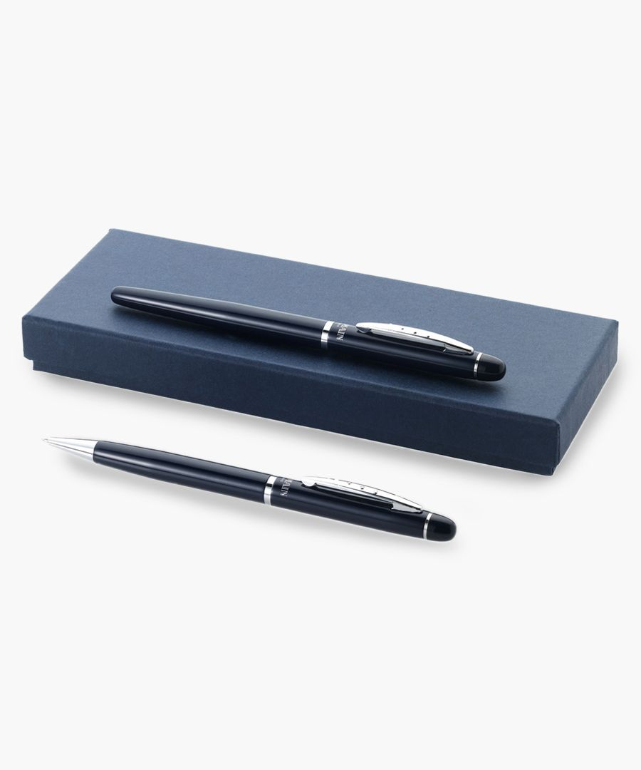 2pc blue metal ballpoint boxed set