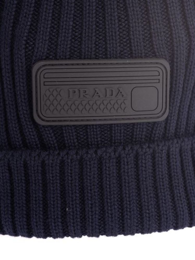 PRADA MEN'S UMD429S192U97F0008 BLUE WOOL HAT