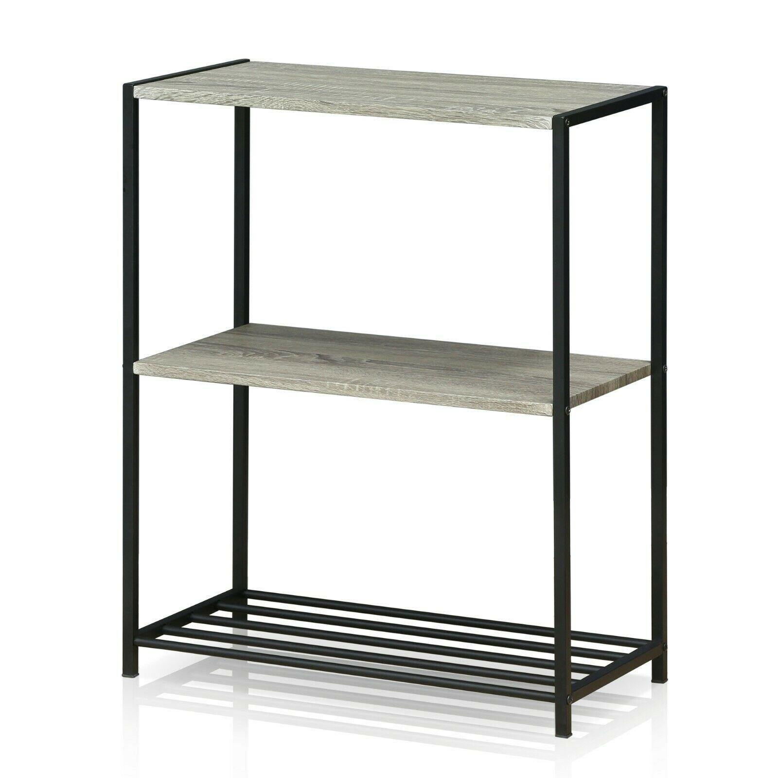 Furinno Basic 3-Tier Bookcase Storage Shelves, French Oak Grey