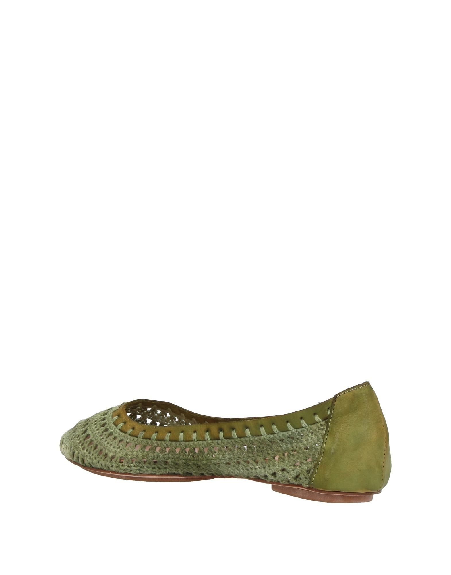 Baldinini Trend Military Green Leather Ballet Flats