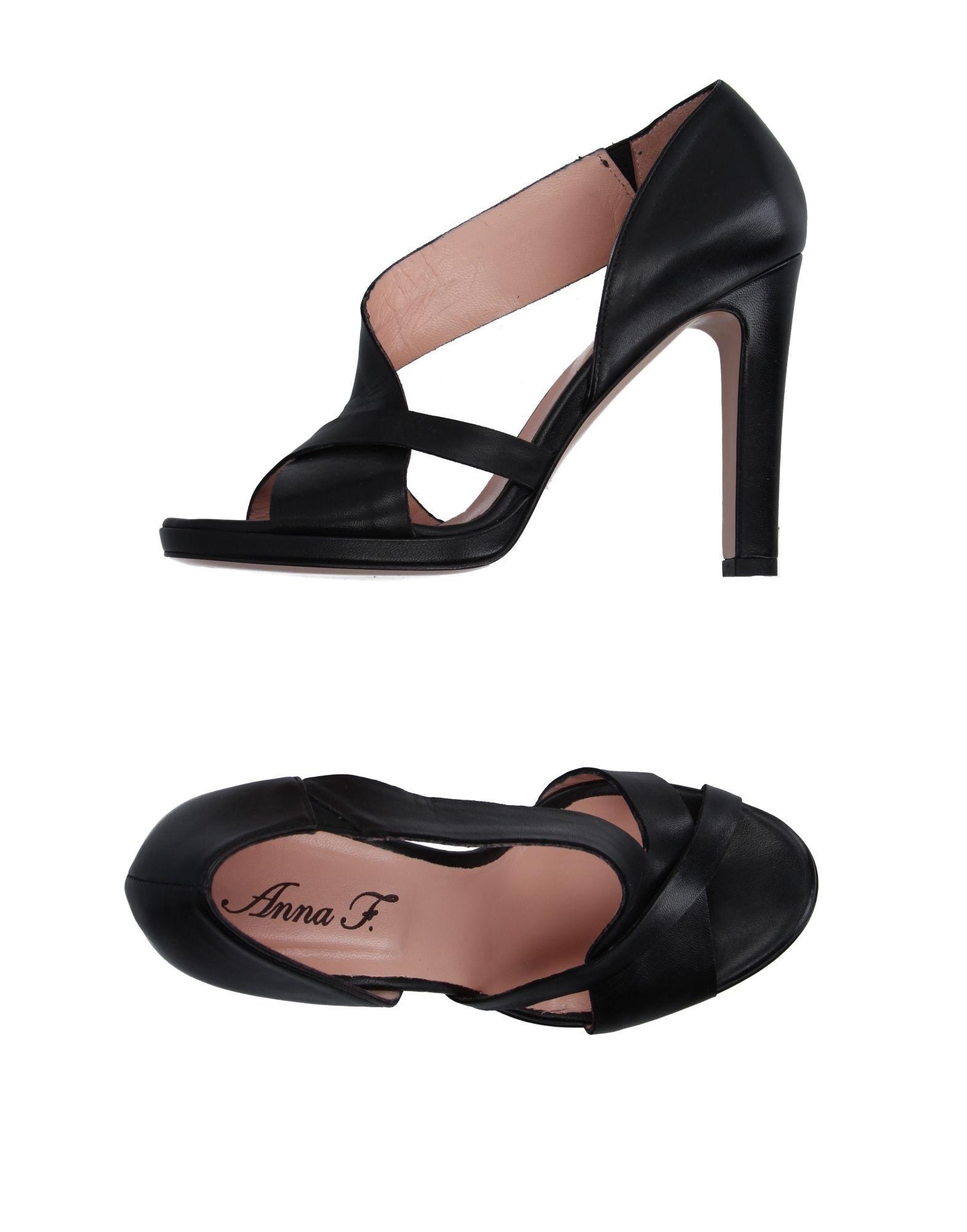 Anna F. Black Nappa Leather Heeled Sandals