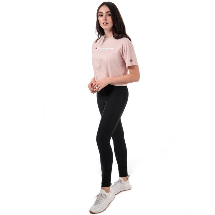 Women's Champion Crew Neck Cropped T-Shirt in Pink