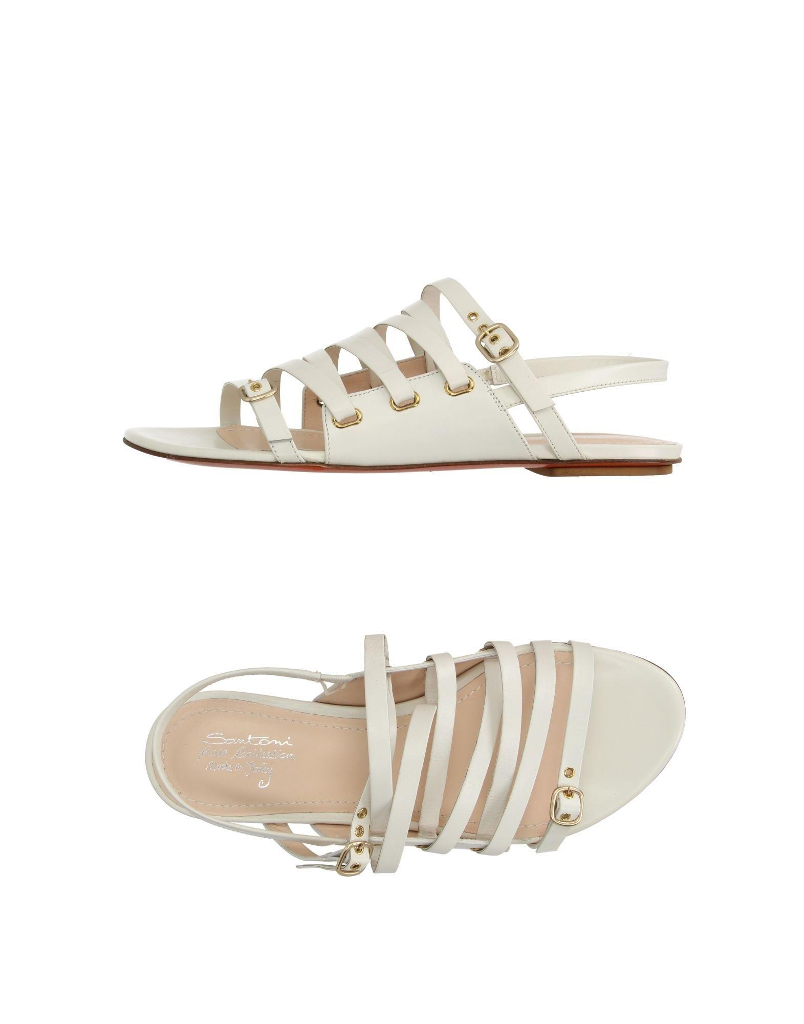 Santoni Women's Sandals White Leather