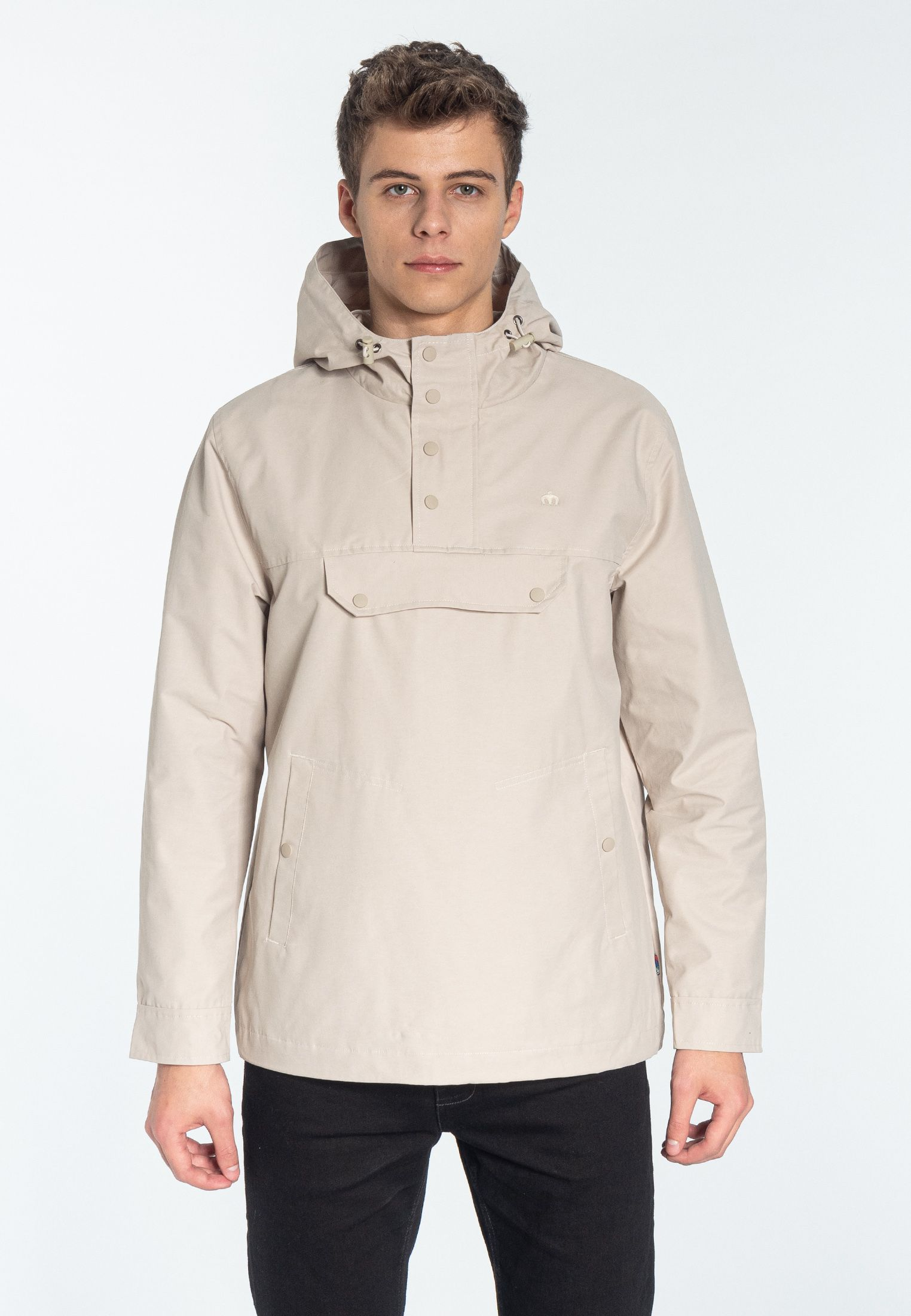 Shield Pullover hooded jacket in Stone