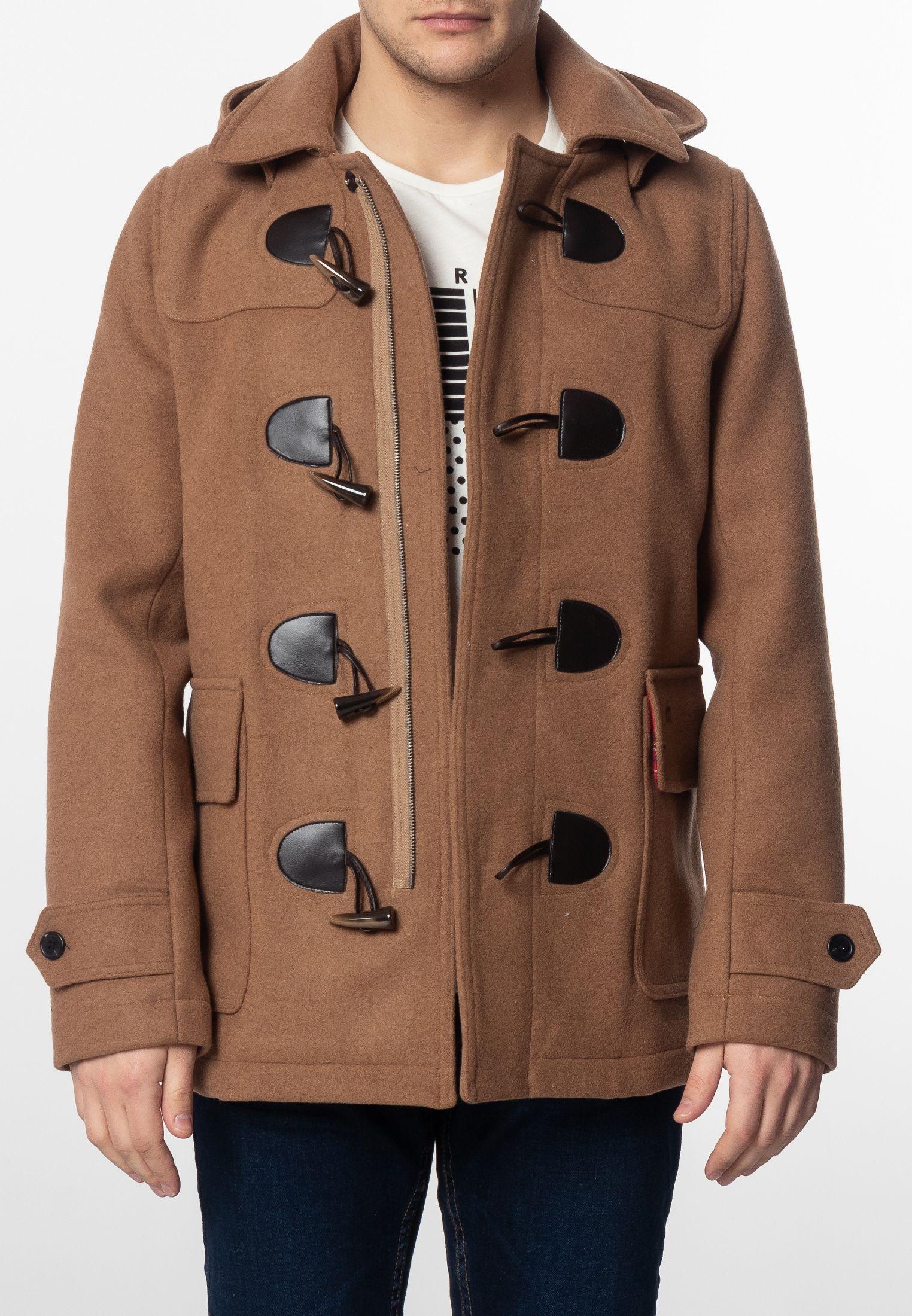 Bonner Mens Short Duffle Coat With Detachable Hood In Tan