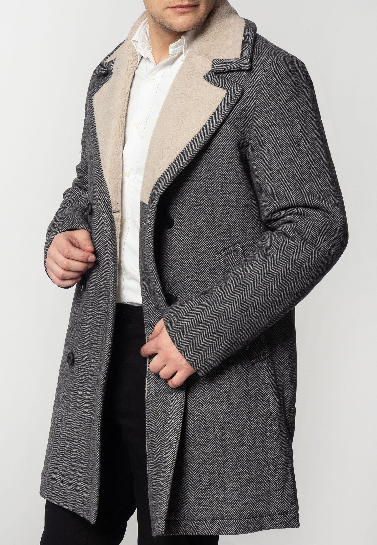 Fraser Mens Tweed Overcoat With Borg Lining In Dark Grey