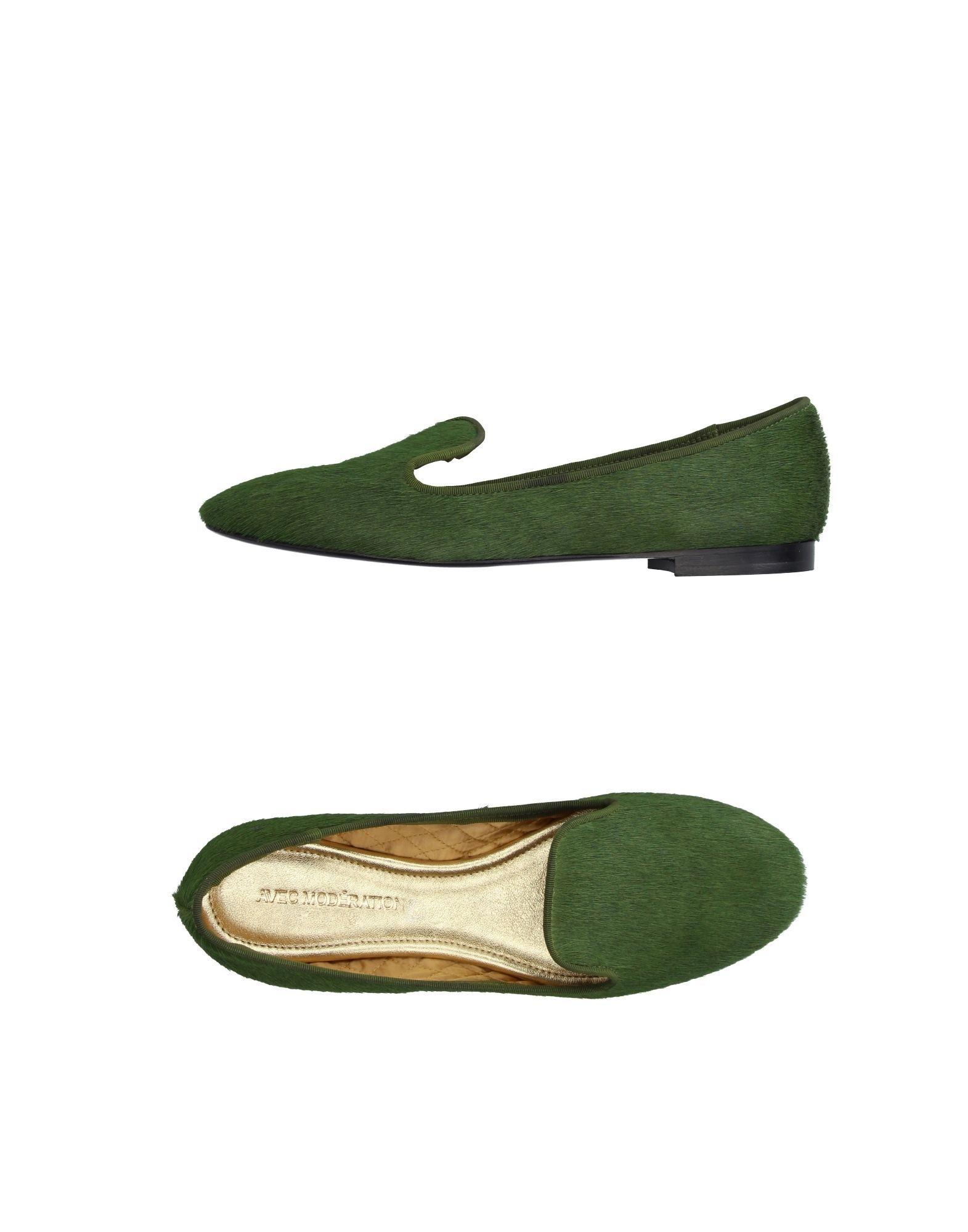 Avec Moderation Military Green Leather Loafers