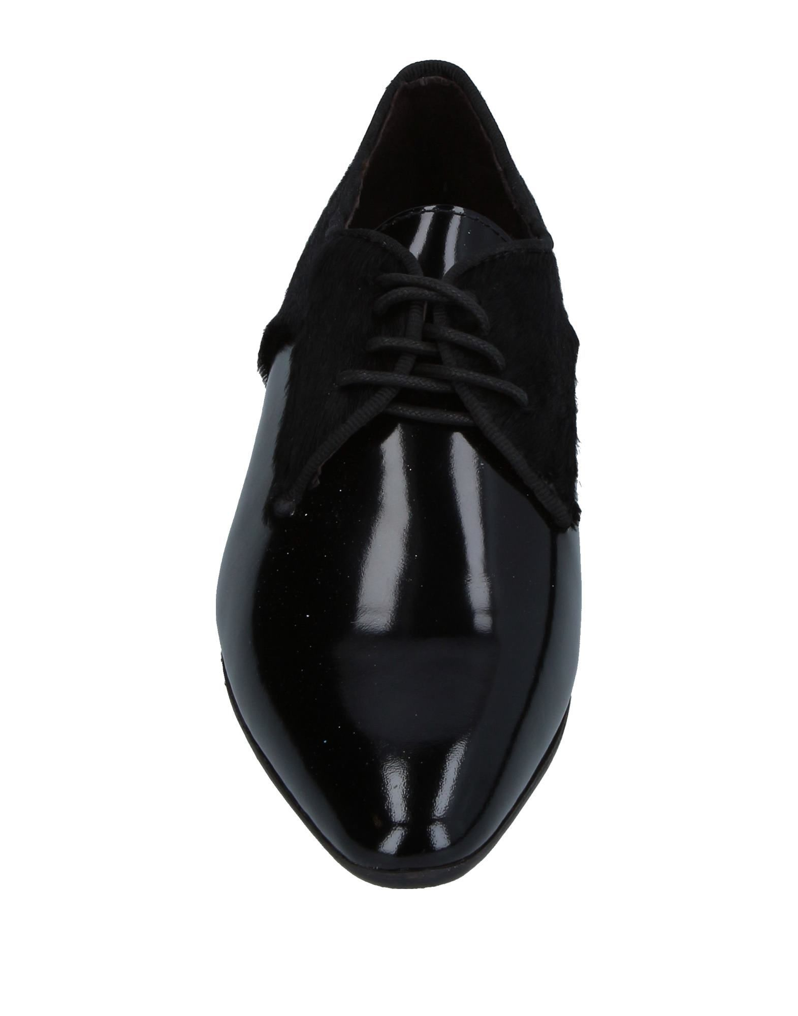 Cafenoir Black Leather Flat Lace Up Shoes
