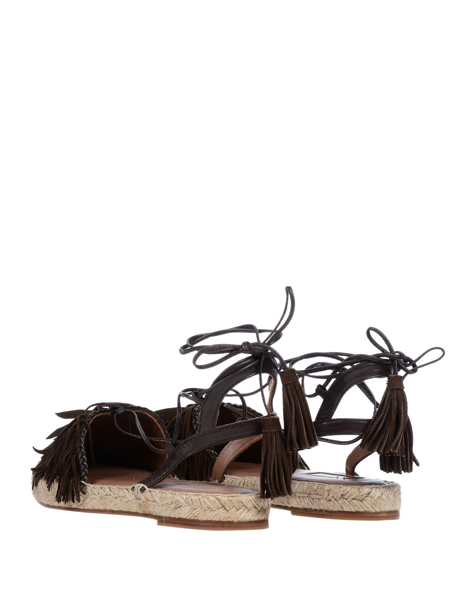 Aquazzura Dark Brown Leather Espadrilles