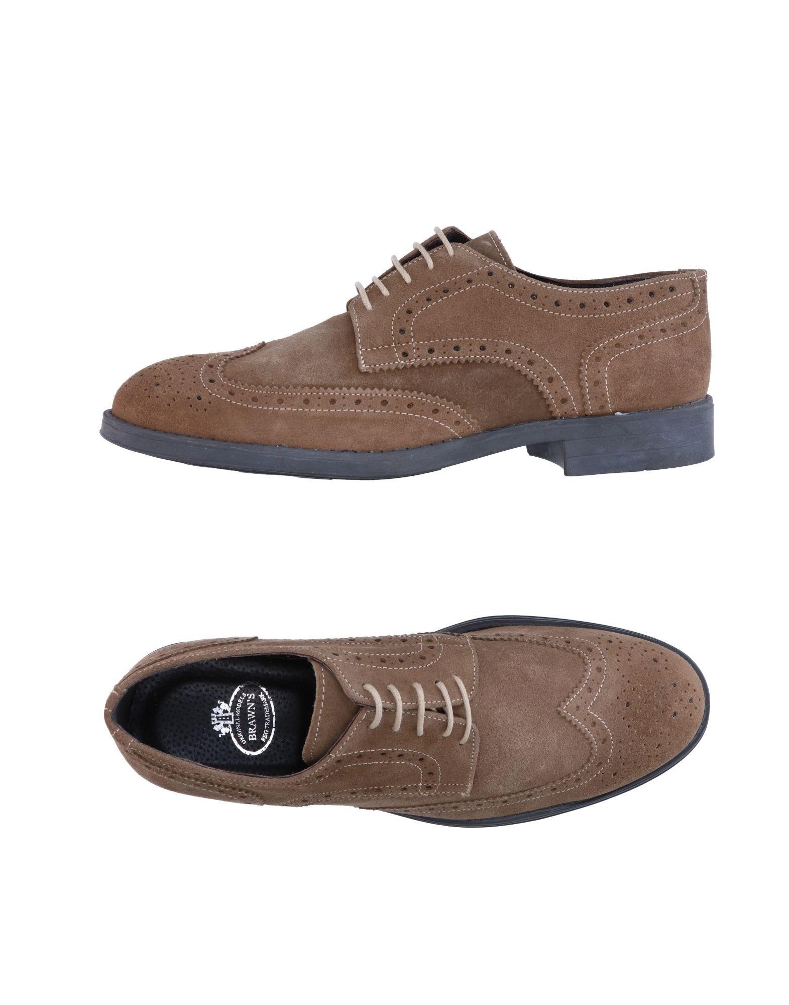Brawn's Khaki Leather Lace Up Shoes
