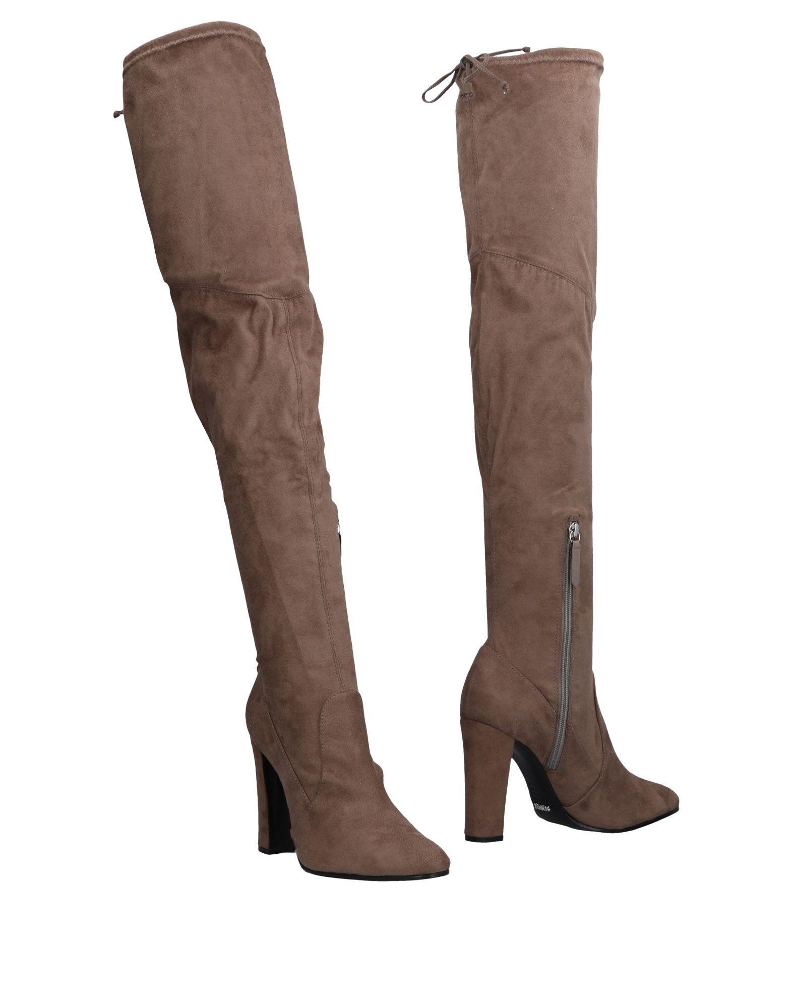 Schutz Khaki Leather Over The Knee Boots
