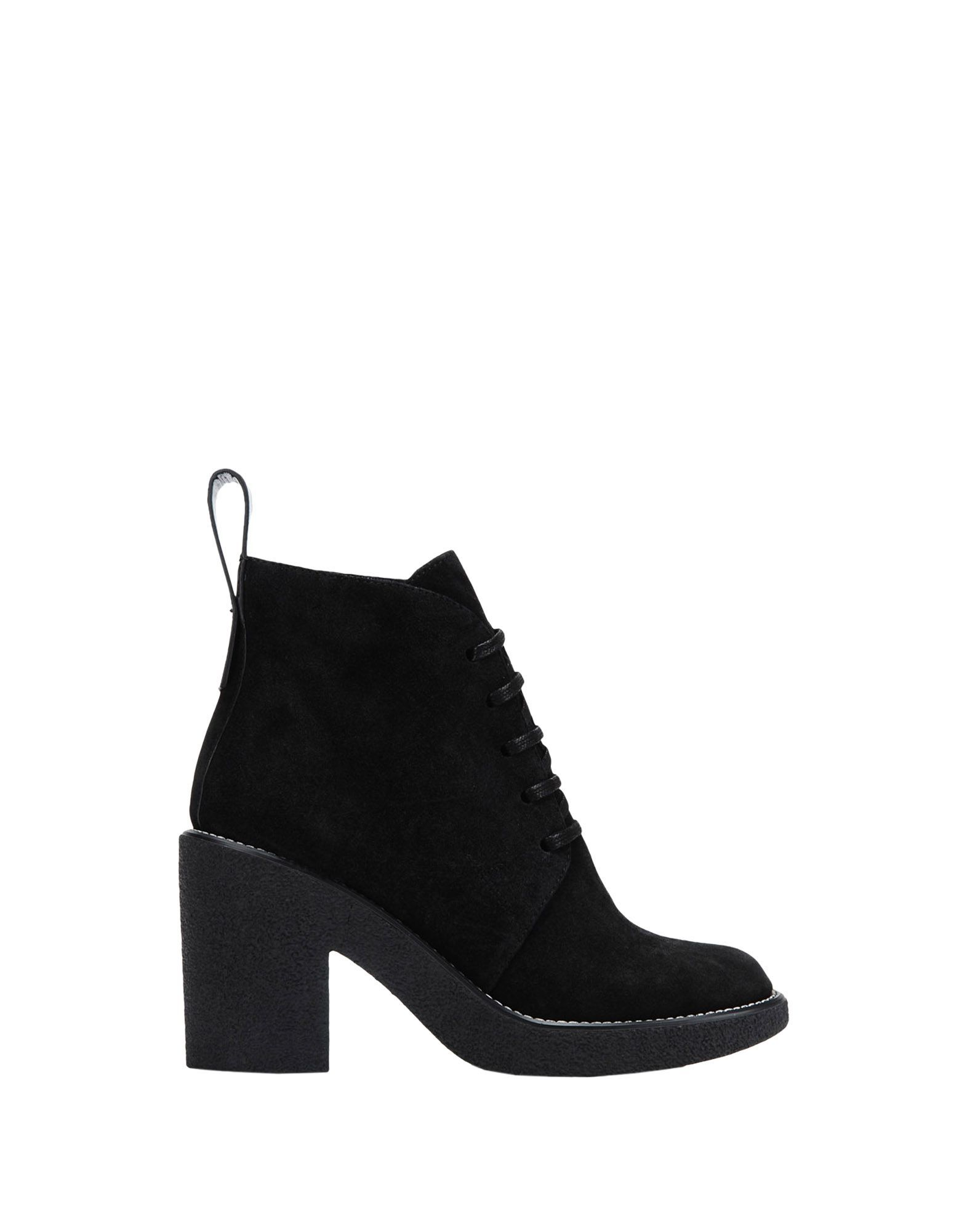 Jil Sander Navy Black Calf Leather Lace Up Ankle Boots
