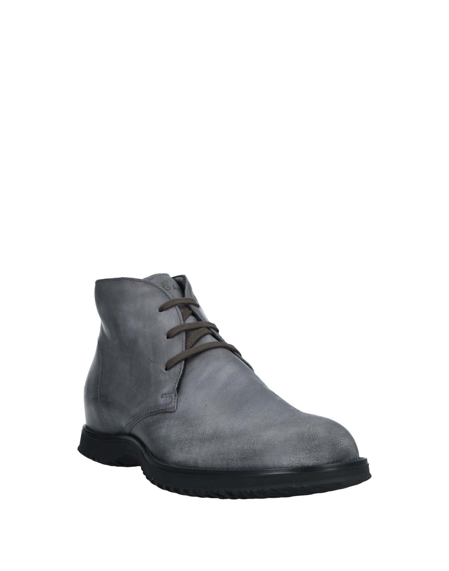 Hogan Grey Leather Lace Up Ankle Boots