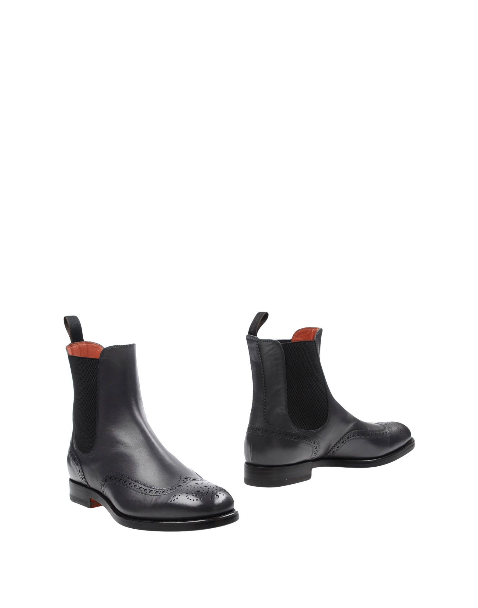 Santoni Lead Leather Ankle Boots