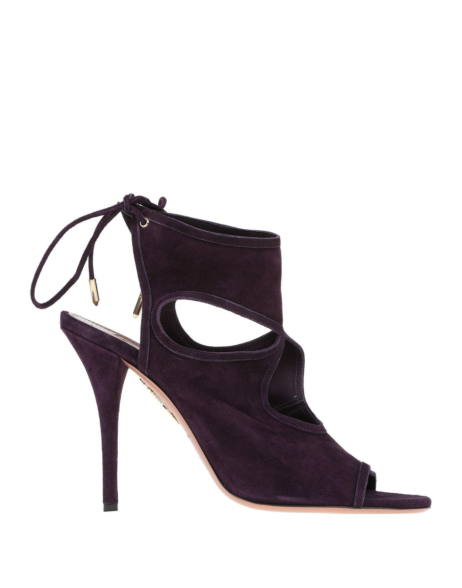 Aquazzura Dark Purple Leather Heels