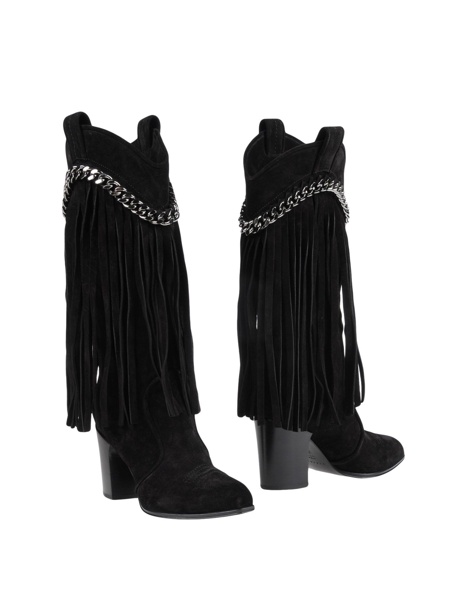 Casadei Black Leather Fringed Boots