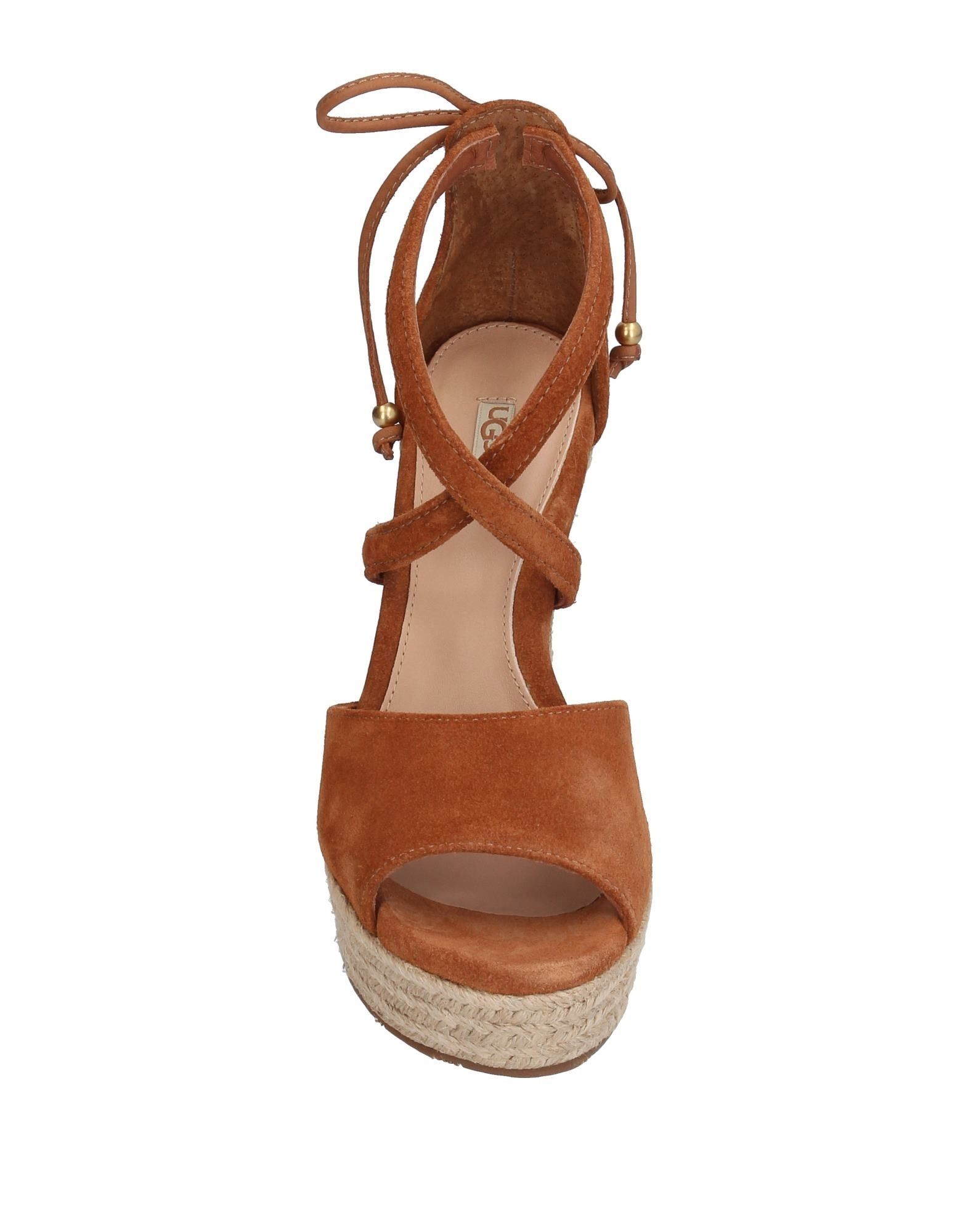 Ugg Australia Brown Leather Espadrille Wedges