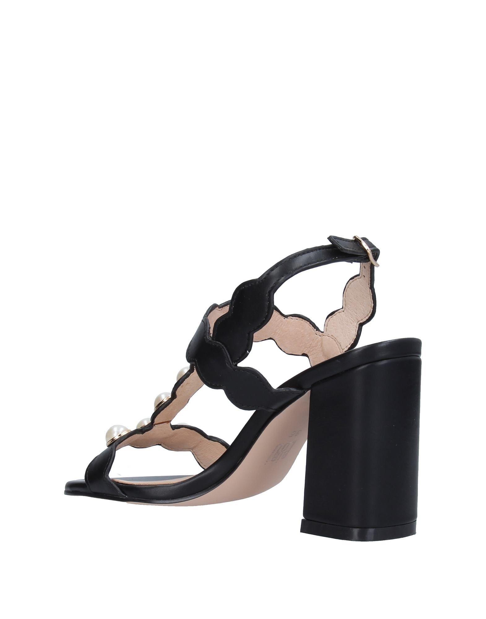 Bibi Lou Black Beaded Leather Heeled Sandals