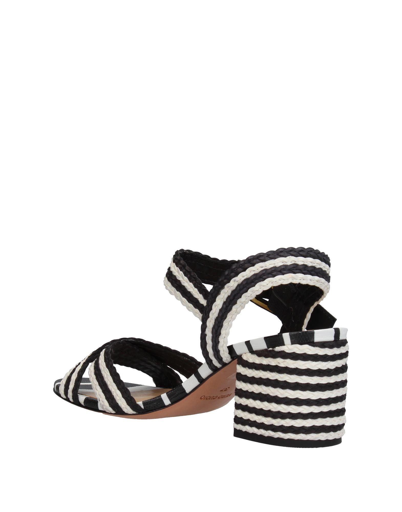 La Perla Black Stripe Heeled Sandals